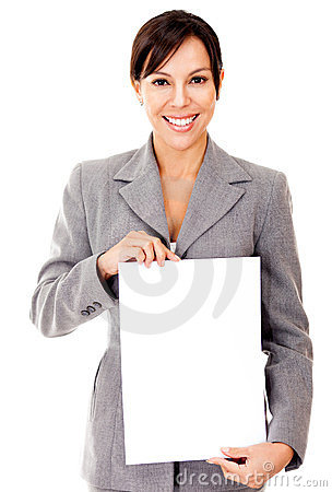 Business woman holding a document