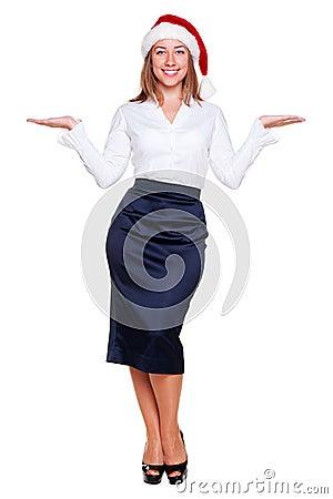 Business woman holding empty copyspace