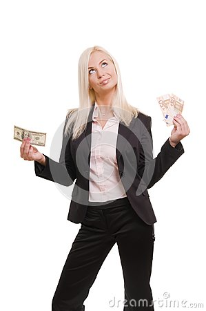 Business woman holding euro and dollars