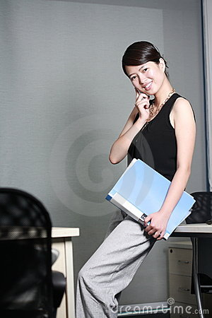 business woman holding with folder