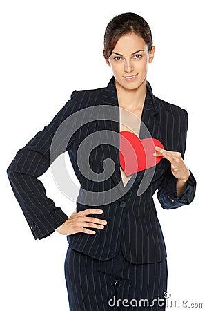 Business woman holding heart shape