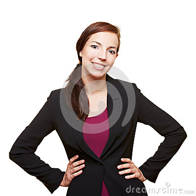 Business woman holding her arms