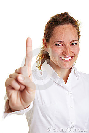Business woman holding index finger