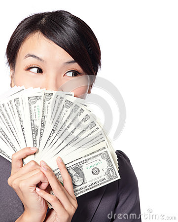 Free Business Woman Holding Money Stock Photo - 28247520