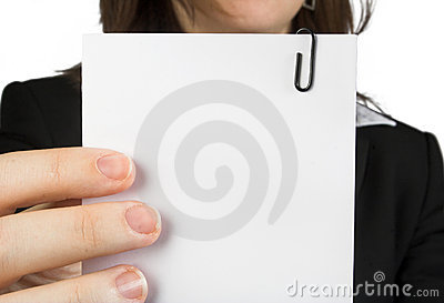 Business woman holding note