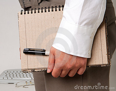 Business woman holding note pad