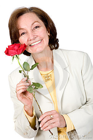 Business Woman holding a red rose