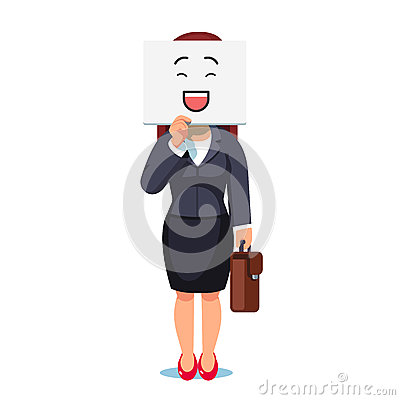 Business woman holding sheet with mask over face Vector Illustration
