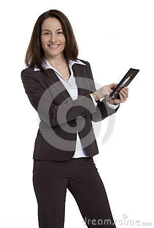Business Woman Holding Tablet Device