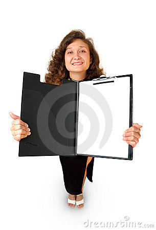 Business woman holding a tablet isolated
