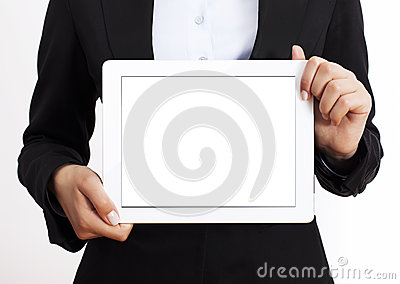 Business woman holding tablet pc
