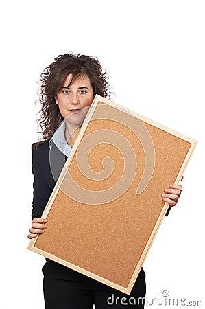 Free Business Woman Holding The Corkboard Stock Photo - 1887190