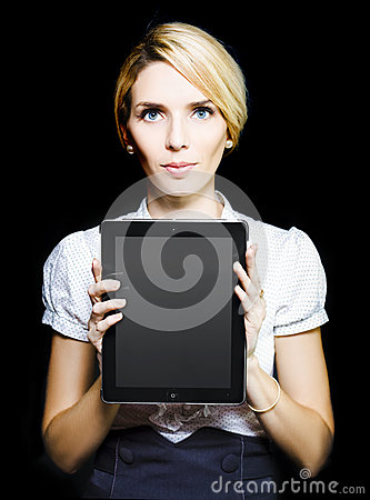 Business woman holding touchpad tablet
