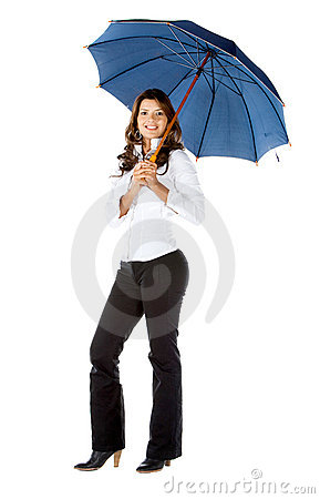 Business woman holding an umbrella