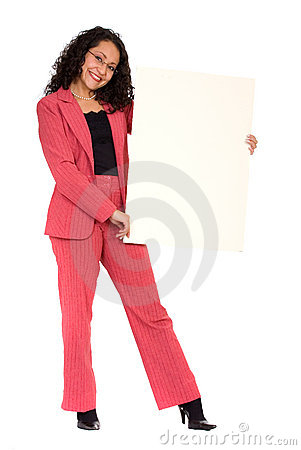 Business woman holding a white