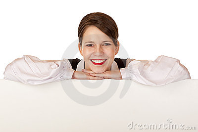 Business woman holds blank advertisement board