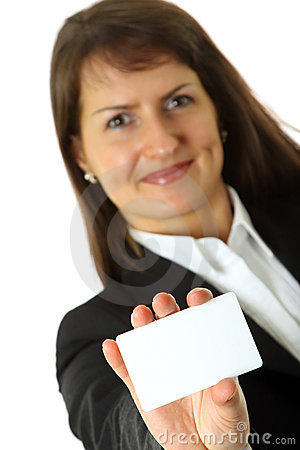 Business woman holds a business card in a hand