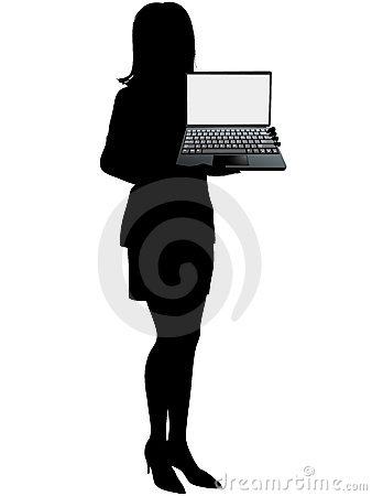 Business woman holds laptop computer to display