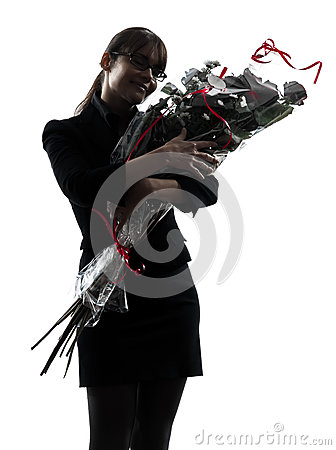 Business woman hugging flowers bouquet silhouette
