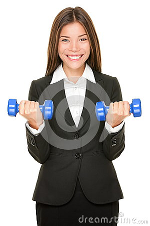Free Business Woman In Suit Lifting Dumbbell Weights Stock Photos - 29332443