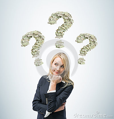 Free Business Woman Is Thinking About Business Ideas. Three Question Signs Are Made Of Dollar Notes. Stock Image - 53568681