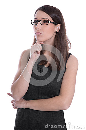 Business woman isolated in black and white with glasses looking