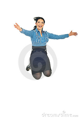 Business woman jumping