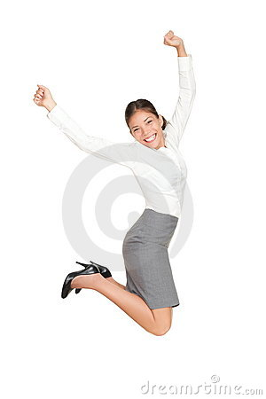 Free Business Woman Jumping In Success Royalty Free Stock Photography - 18784337