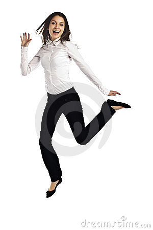 Business woman jumping for joy on white
