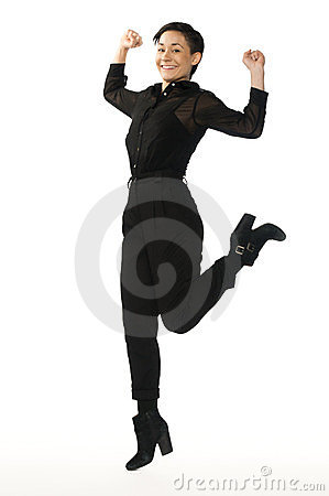 Business Woman jumping raising her fists