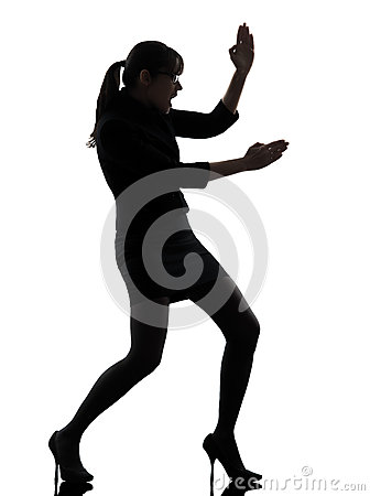 Free Business Woman Karate Self Defense Silhouette Royalty Free Stock Images - 32440299