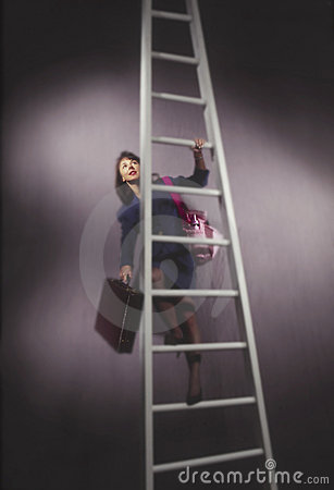 Business woman on ladder with diaper bag
