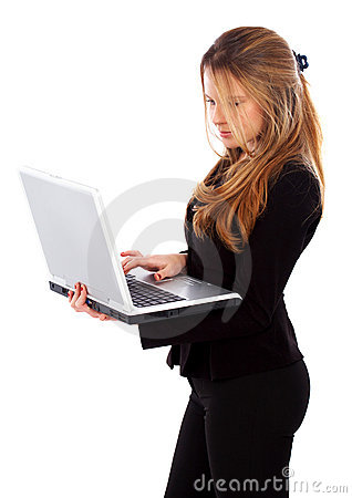 Business woman on a laptop computer