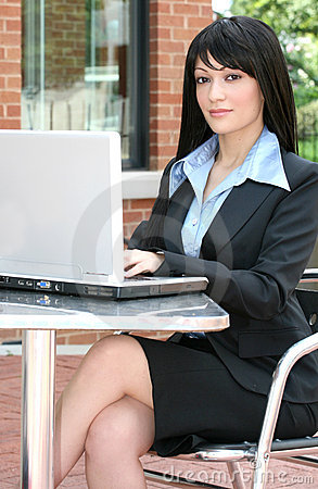 Business Woman with Laptop Outdoors