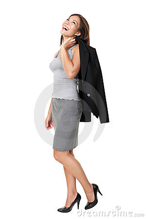 Business woman laughing full length