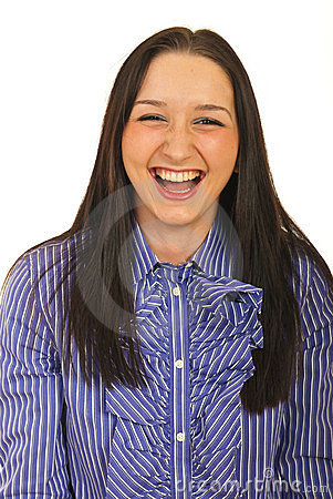 Business woman laughing out loud