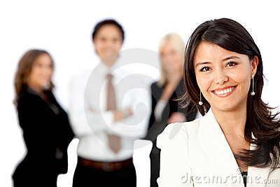 Business woman leading a team