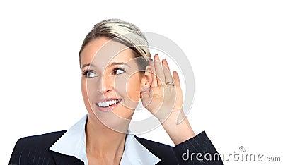 Business woman listening
