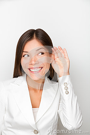 Free Business Woman Listening With Hand To Ear Concept Royalty Free Stock Images - 30242429