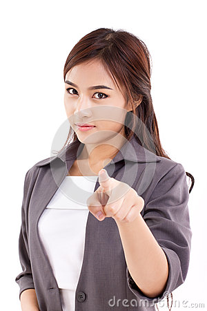 Free Business Woman Looking And Pointing At You Stock Images - 46770104