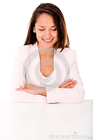 Business woman looking at the desk