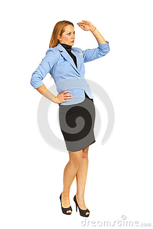 Business woman looking in perspective