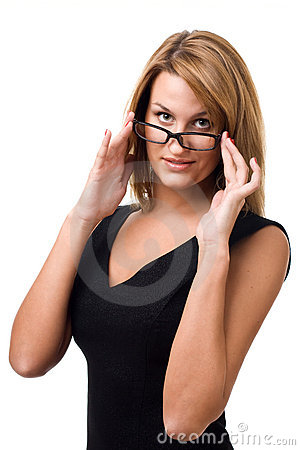 Business woman looking at you over glasses.