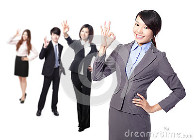 Business woman making the ok sign