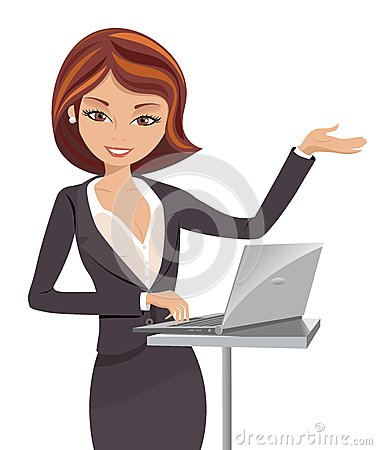 Free Business Woman Making Presentation With Notebook Royalty Free Stock Photo - 27320225