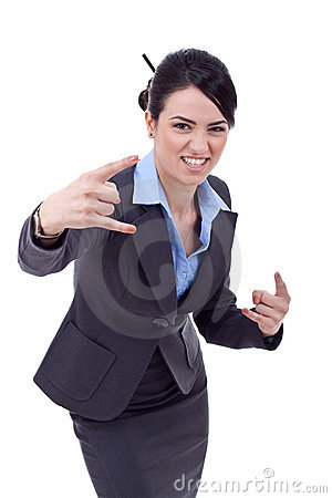 Business woman making a rock and roll sign