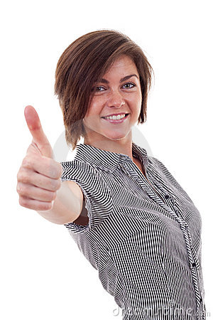 Business woman making thumb up gesture