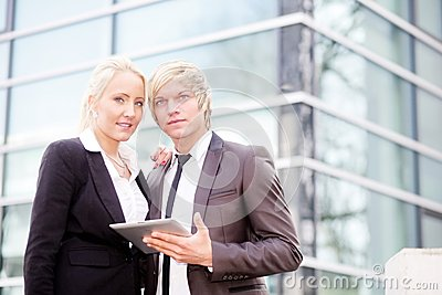 Business woman man digital tablet