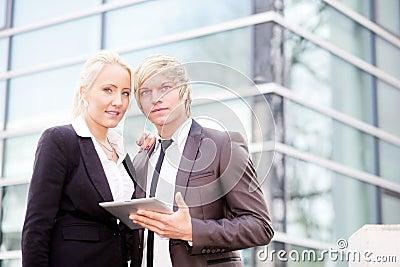 Business woman man digital tablet