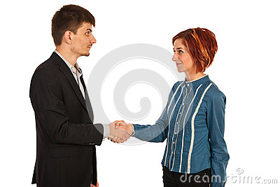 Business woman and man giving hand shake